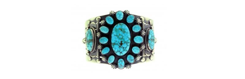 http://www.perrynulltrading.com/delbert-gordon-cluster-bracelet-kingman-turquoise-sterling-silver-navajo