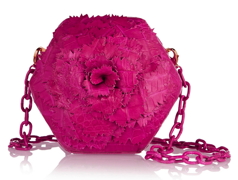 Nancy Gonzalez Flower-Embellished Crocodile Clutch