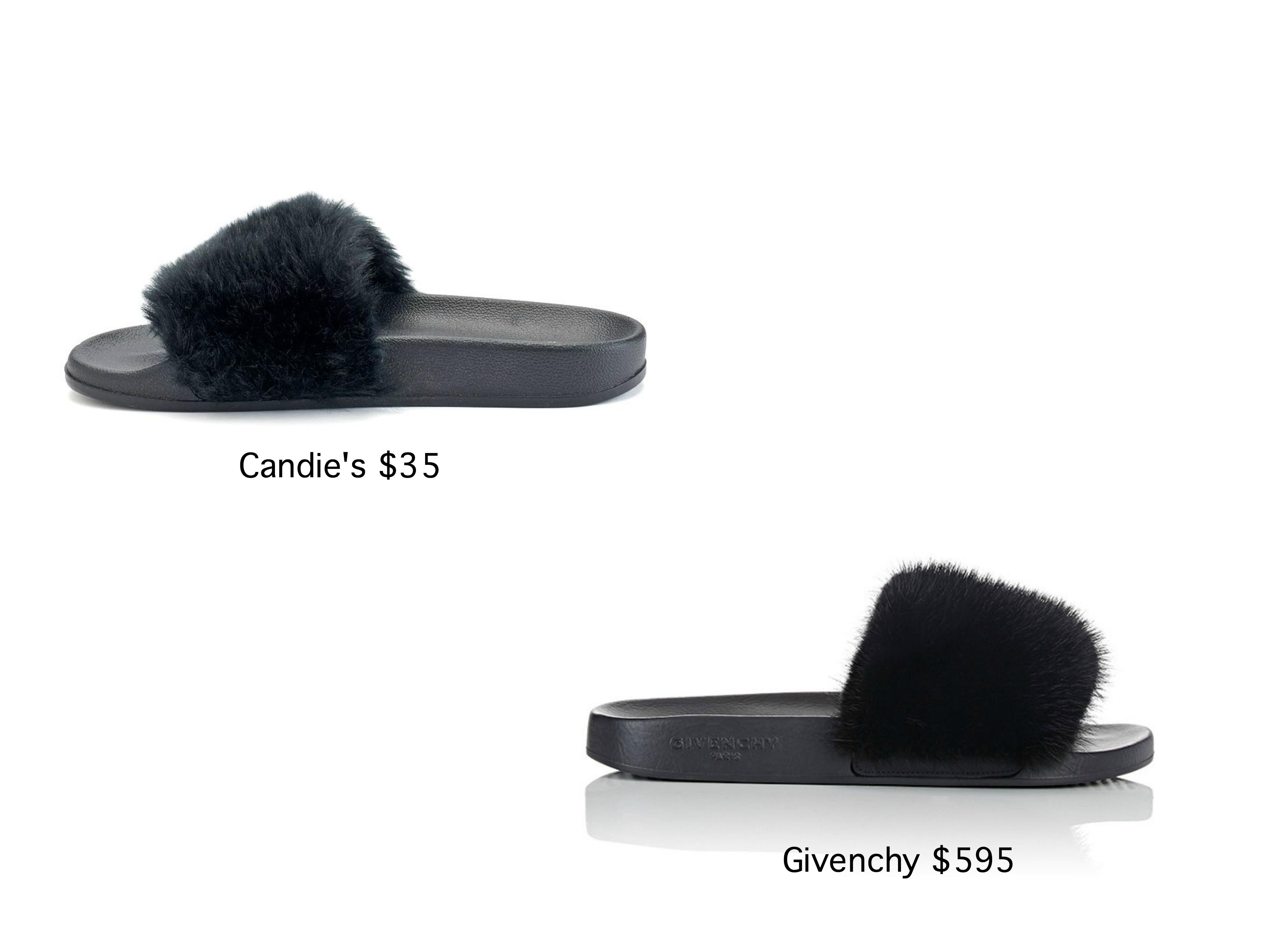 3dd2f3a070e3 Givenchy vs Candie s Fur Sandals  Fur Fun s Sake - Snob Essentials