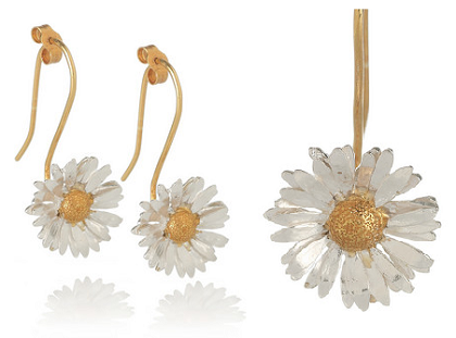 white dangle earrings daisy drop