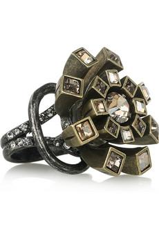 Lanvin Swarovski Crystal Flower Ring