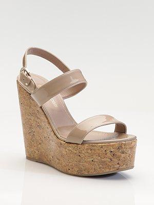 1f45b1f4f35 Sergio Rossi Patent Leather Cork Wedge Sandals  Critical Mass - Snob ...
